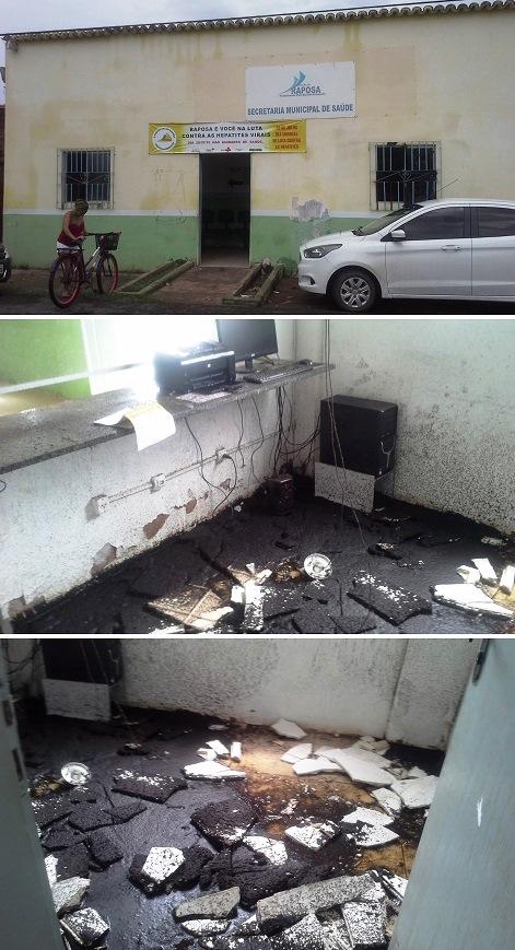 Local onde funcionava a secretaria de Saúde ficou destrupido com o desabamento do teto do imóvel…
