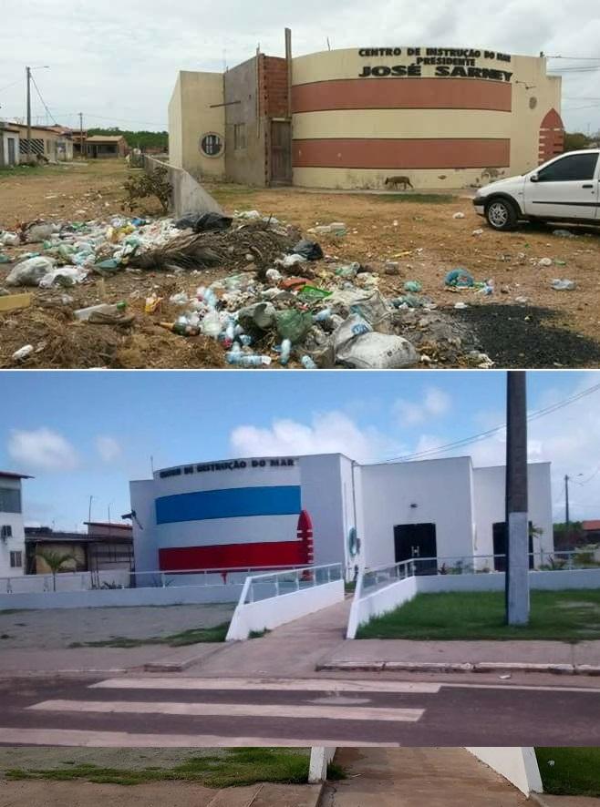 O ANTES (foto acima- lixo e abandono) e o DEPOIS (imagem abaixo - órgão sendo reformado na gestão Talita).