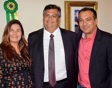 Governador Flávio Dino e prefeito de Poção de Pedras, Júnior Cascaria, durante reunião no Palácio dos Leões.