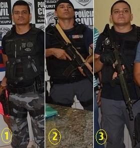 1-Tenente Josuel; 2-soldado Tiago Viana e 3-soldado Glaydstone…