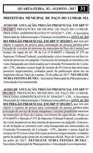 Os avisos foram publicados no Diário Oficial na última quarta-feira, dia 02.