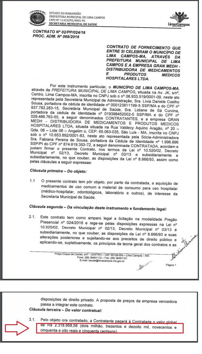 Trecho do contrato entre a prefeitura de Lima Campos e a empresa do prefeito Jailson...