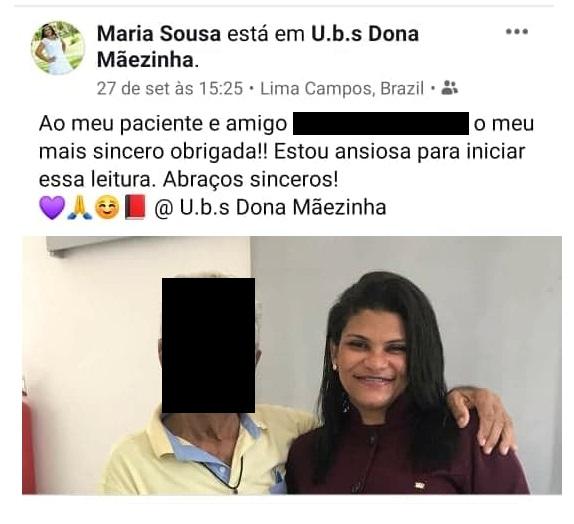 Conceição de Maria Pereira de Sousa dentista da prefeitura de Lima Campos é irmã de Fabiana Pereira de Sousa