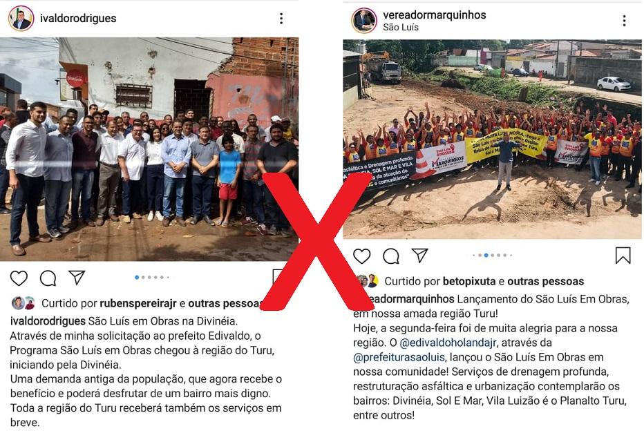 Ivaldo e Marquinhos fizeram postagem no Instagram com seus grupos políticos durante o inicio dos serviços da vala de esgoto...