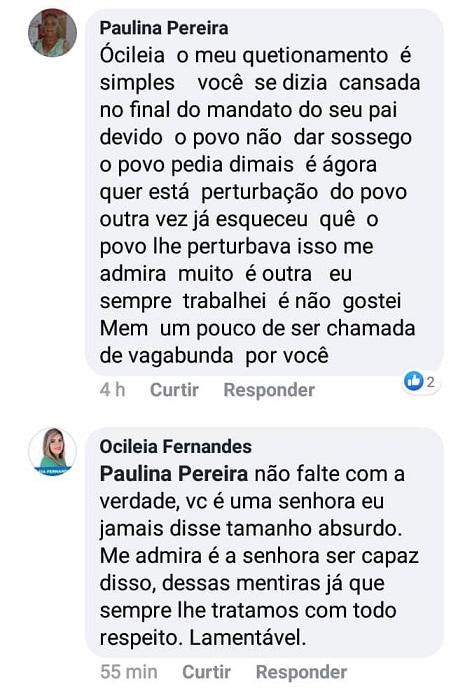 Discussão entre a ex-aliada da família Paraíba e a filha do ex-prefeito ganhou repercussão no meio político do município.
