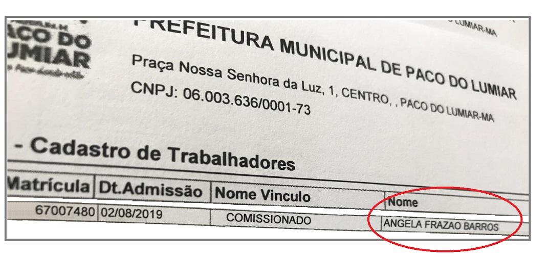 Nomeação de Ângela Frazão Barros na prefeitura de Paço do Lumiar...