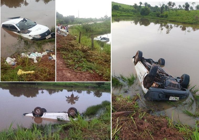 Motorista perdeu o controle e carro foi parar dentro de um açude...