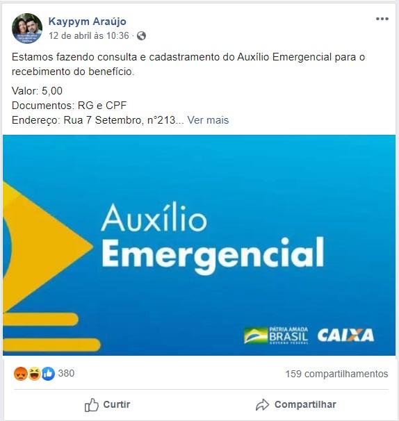Morador de Pio XII fez o anúncio da cobrança pelo cadastro do Auxilio Emergencial em uma postagem no Facebook.