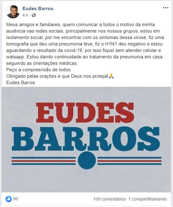 O ex-vereador fez o anúncio pelo Faceboojk...