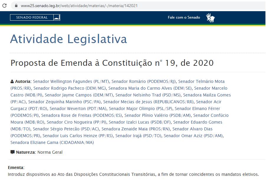 PEC já possui assinatura de 28 dos 81 senadores...