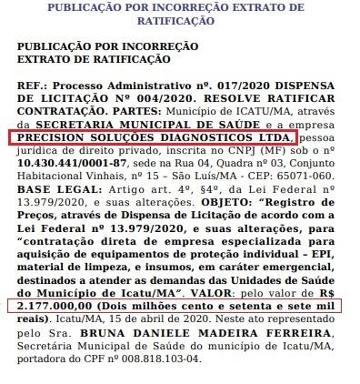 Contrato entre a prefeitura e a empresa alvo da PF...