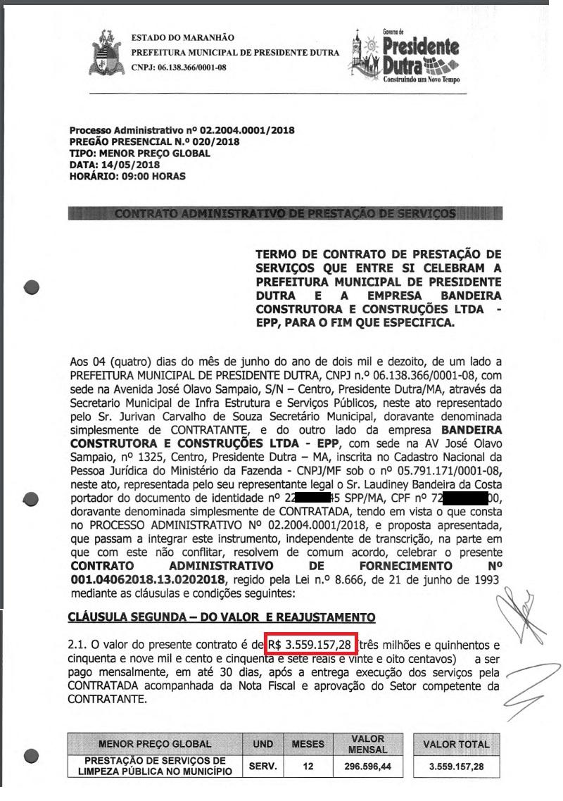 Um dos inúmeros contratos que a Construtora selou com a prefeitura de Presidente Dutra...