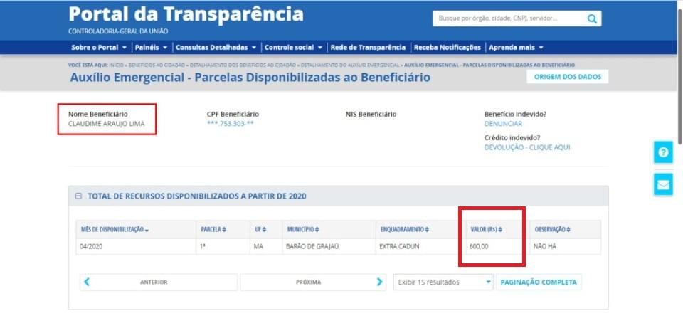 No Portal da Transparência consta o nome da ex-primeira dama...