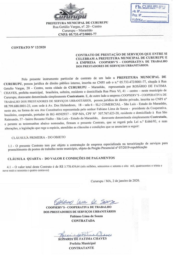 Destaques do contrato celebrado entre a prefeitura de Cururupu e a Coopeserv's...