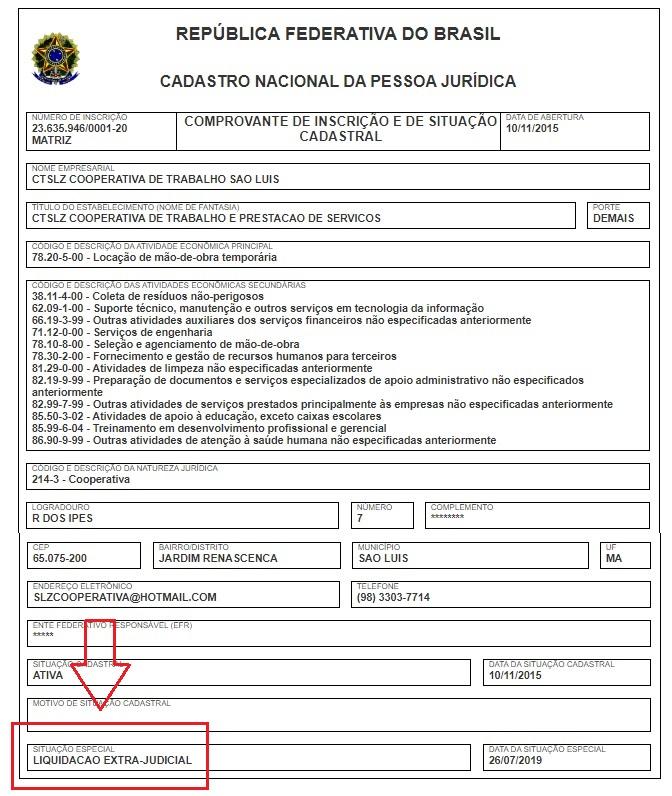 Receita Federal já mostra liquidação extrajudicial da CTSLZ...