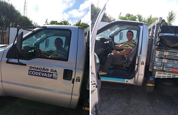 Edberto, presidente do Sindicato, dentro do caminhão, em novembro de 2019, quando recebeu o veículo.