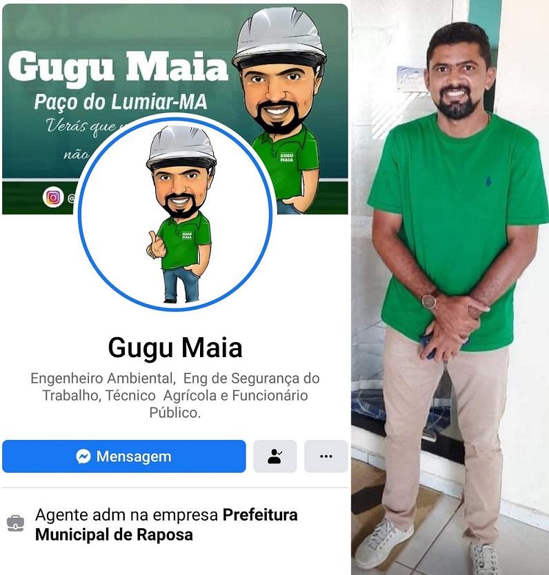 Trabalha na prefeitura de Raposa e mora em Paço do Lumiar...