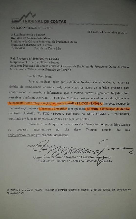 Parecer técnico emitido pelo Tribunal de Contas do Estado – TCE, opinando pela reprovação de contas de Irene Soares.