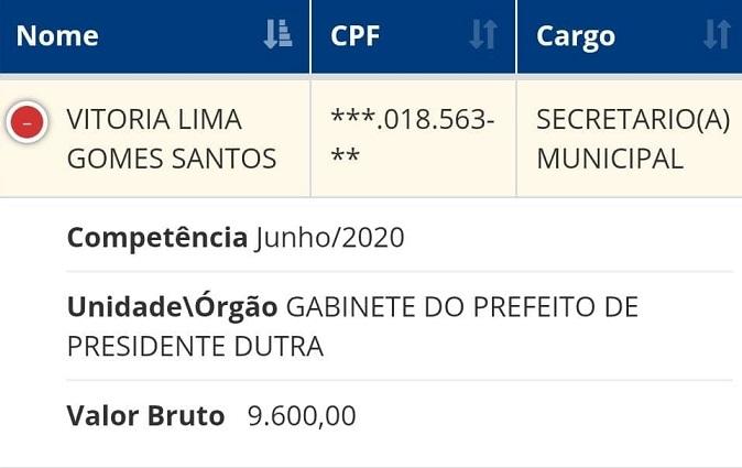Salário e cargo que vitória ocupa na prefeitura...