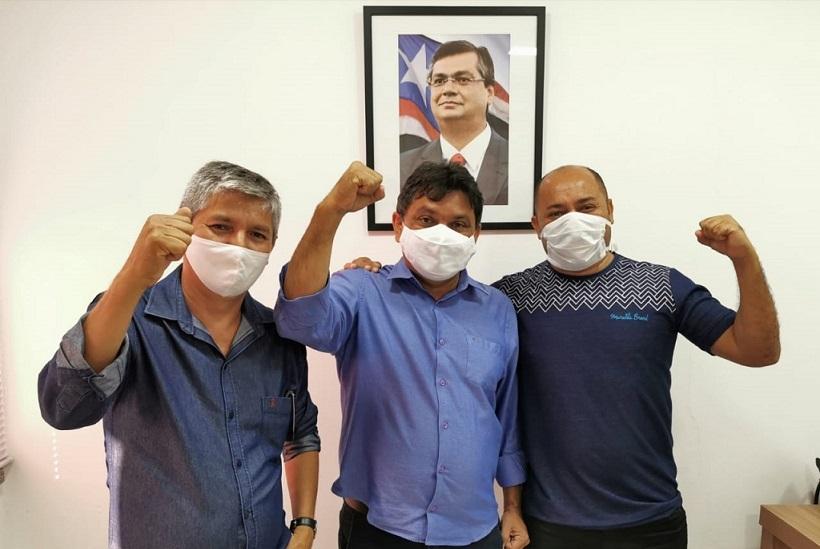 Eudes Barros, Márcio Jerry e Márcio Greik durante encontro nesta quarta-feira (03).