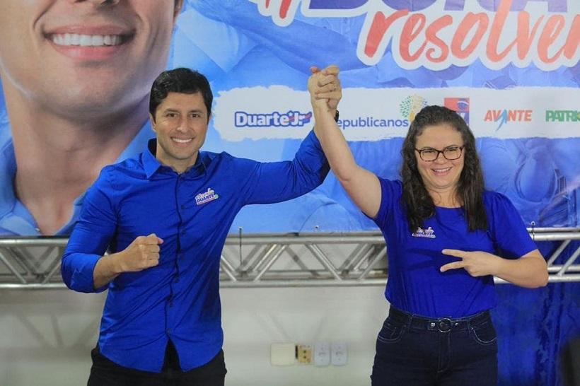 Duarte e Fabiana durante anúncio nesta manhã no Rio Poty Hotel.