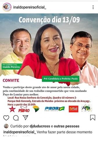 Publicação na rede social de Inaldo...