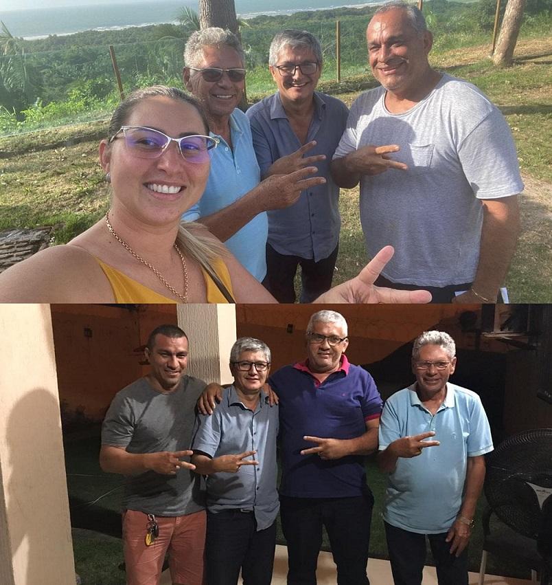 João Bragança e Osmar do Feirão fazem sinal de vitória com Eudes Barros, prefeita Talita e o ex-prefeito José Laci...