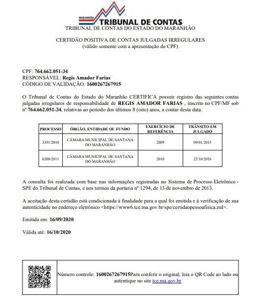 Certidão atesta que Reginho não pode ser candidato nestas eleições...