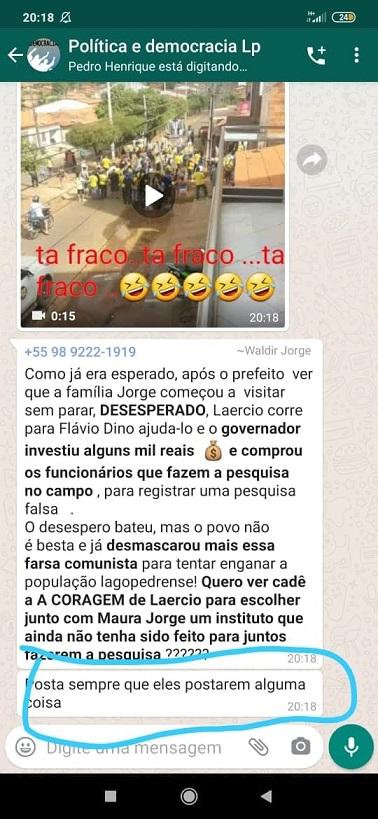 Número de celular do filho de Maura Jorge dá orientações para postagens de calúnias, difamações e fake news contra adversários...