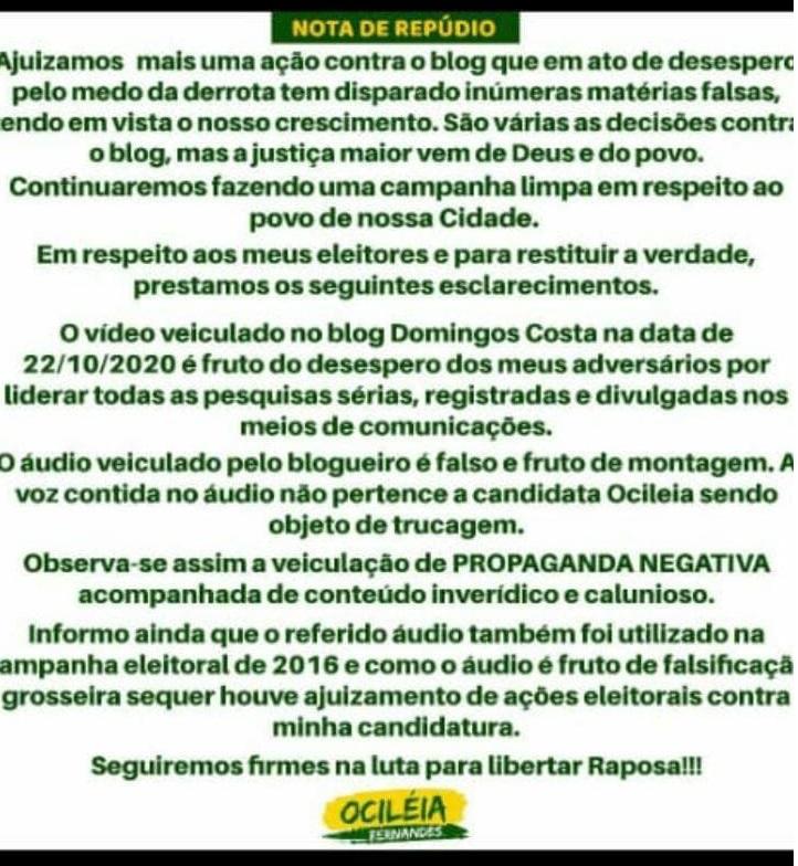 """Nota de Ociléia é """"fake news"""" puro!!!"""