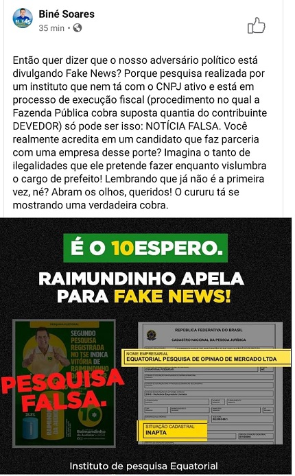 Fake News publicada pelo candidato Biné Soares nesta segunda(20)...