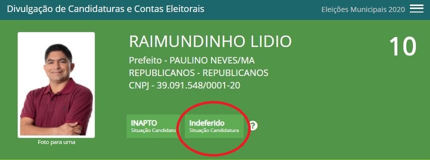 """No sistema do """"DivulgaCand"""" na consta o indeferimento da candidatura de Raimundinho Lidio..."""