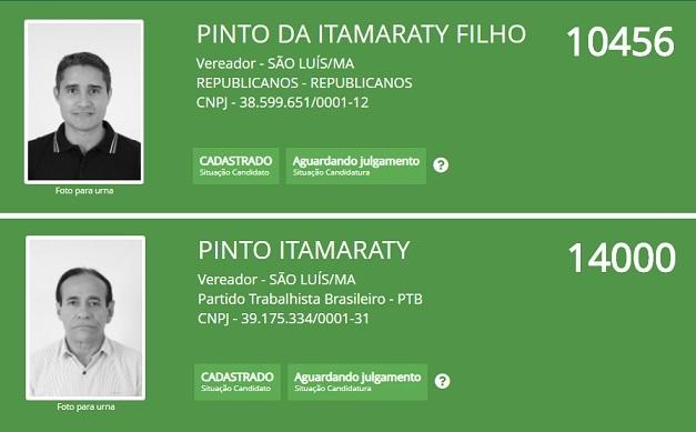 Candidatura de Pintinho estava registrada no Republicanos; Já Pinto está no PTB...