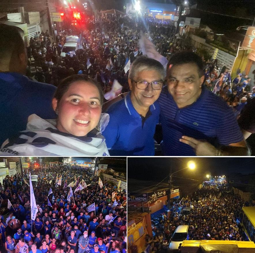 Prefeita Talita, Eudes Barros e Josimar fazem sinal de vitória durante comício na Praça Central...