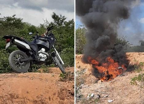 Moto do PM que ficou no local foi queimada pelos populares...