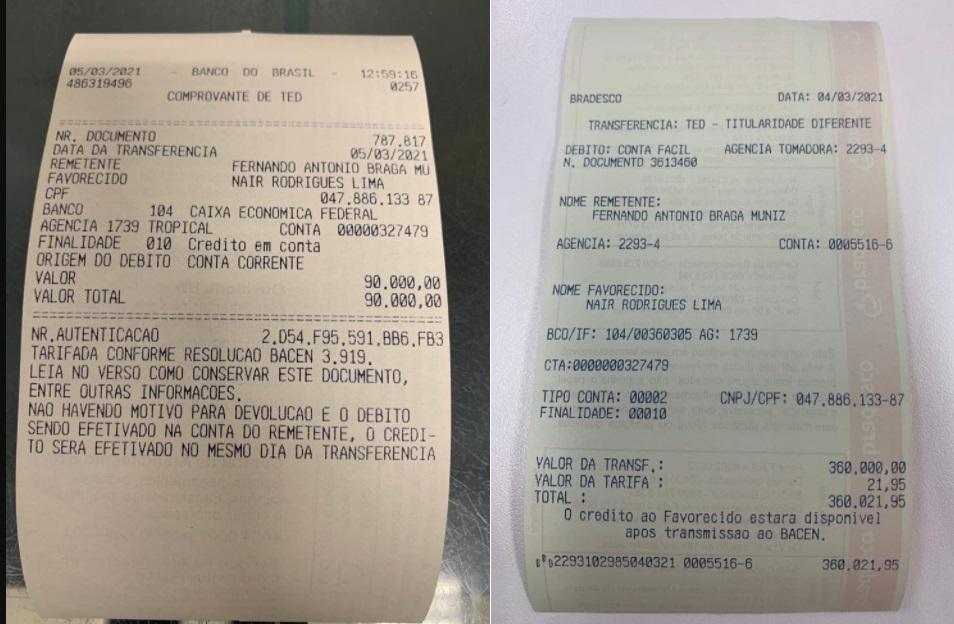 """Comprovantes foram publicados em um grupo de nome """"Maiobão Noticias""""..."""