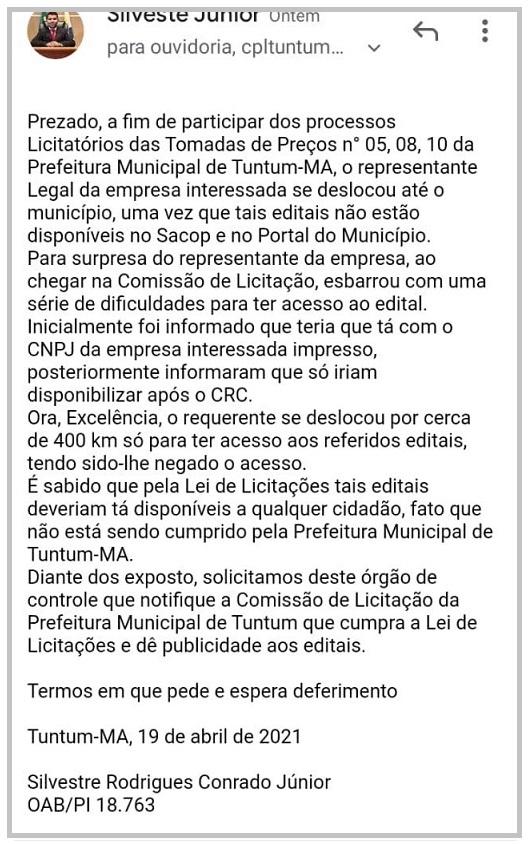 Denúncia do advogado que representa a empresa conta a prefeitura de Tuntum...