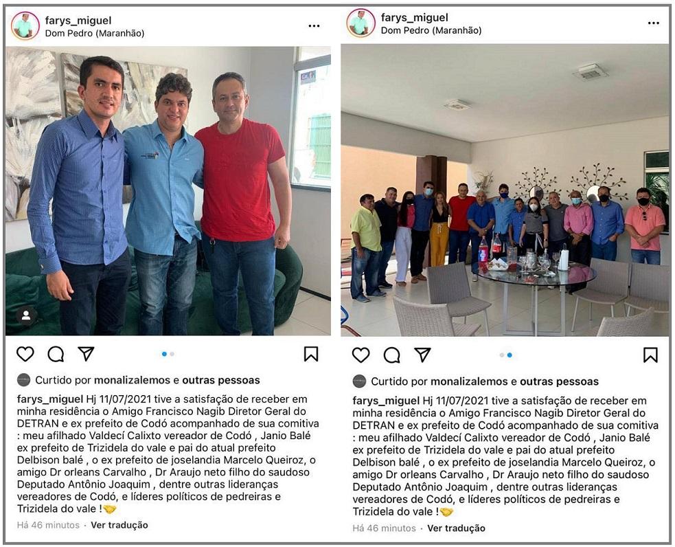Francisco Nagib também fez encontro com apoiadores de Dom Pedro na casa do ex-vereador de Farys Miguel.