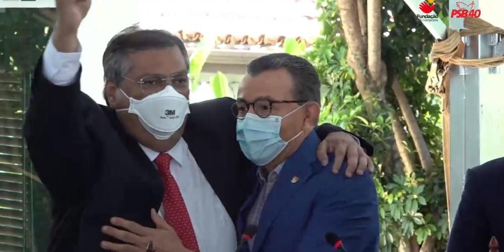 Governador do Maranhão, Flávio Dino e o presidente nacional do PSB, Carlos Siqueira, na cerimônia de filiação nesta terça-feira (22).