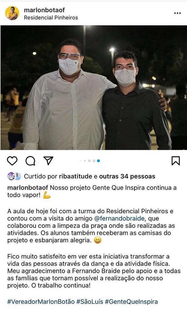 Publicação do vereador Botão Filho em favor de Fernando Braide aponta para abuso de poder econômico visando as eleições de 2022.