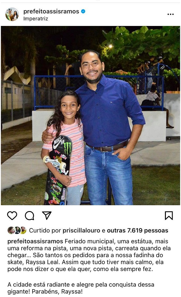 Publicação do prefeito veio por meio das redes sociais...