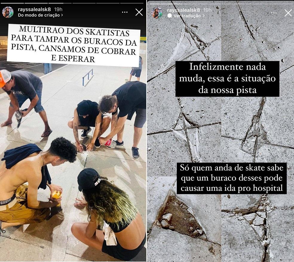 Rayssa Leal mostra buracos e critica condições de pista no Maranhão...